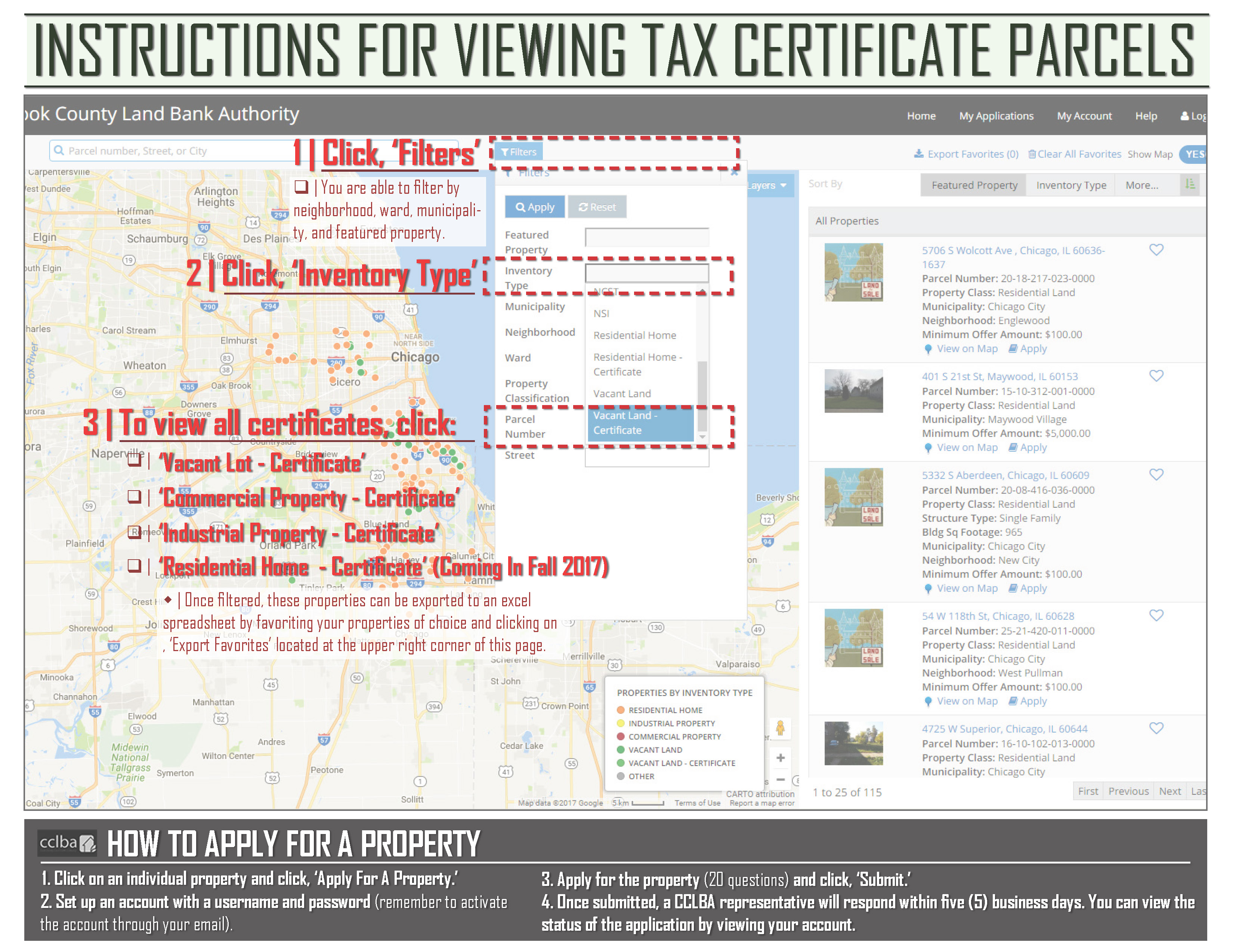 Cook county land bank authority tax certificate program cclba instructions viewing applying for property xflitez Gallery